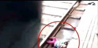 Bebé en las vías del tren
