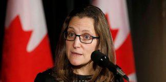 Chrystia Freeland, Ministra de Exteriores de Canadá.