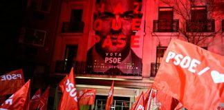 Los militantes del PSOE celebraron su victoria.