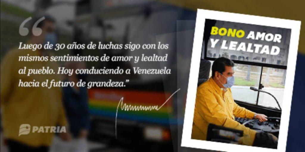 Gobierno de Maduro inicia entrega del bono Amor y Lealtad